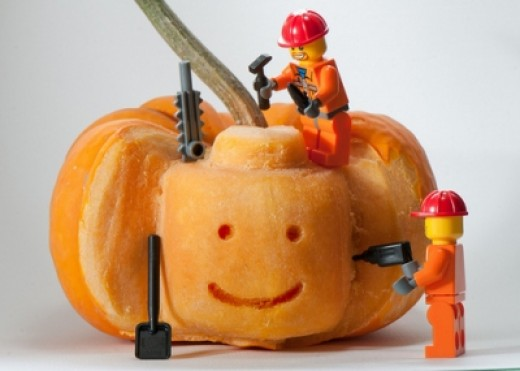 Lego Minifigure Head Carved In A Pumpkin Photo Credit Kenny Louie