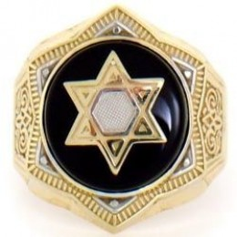 Are you looking for bargains? This 14k Solid Yellow Gold Onyx Star of David Mens Ring liquidated from $1,305.00 to $361.67, a real bargain of 72% savings. The gold star is accented by (rated as a good cut) black onyx stone. He would be proud to wear this ring.