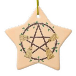 Yule Broom Ornament by Willows1028 at zazzle.com These ornaments are festive and appropriate for the celebration in a Wiccan home and are not easily found in the local shops in your neighborhood making them unique for your celebration.